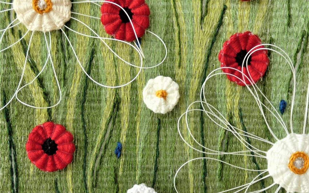 Greeting card of Summer Breeze tpaetsyr woven by Lucy Sugden